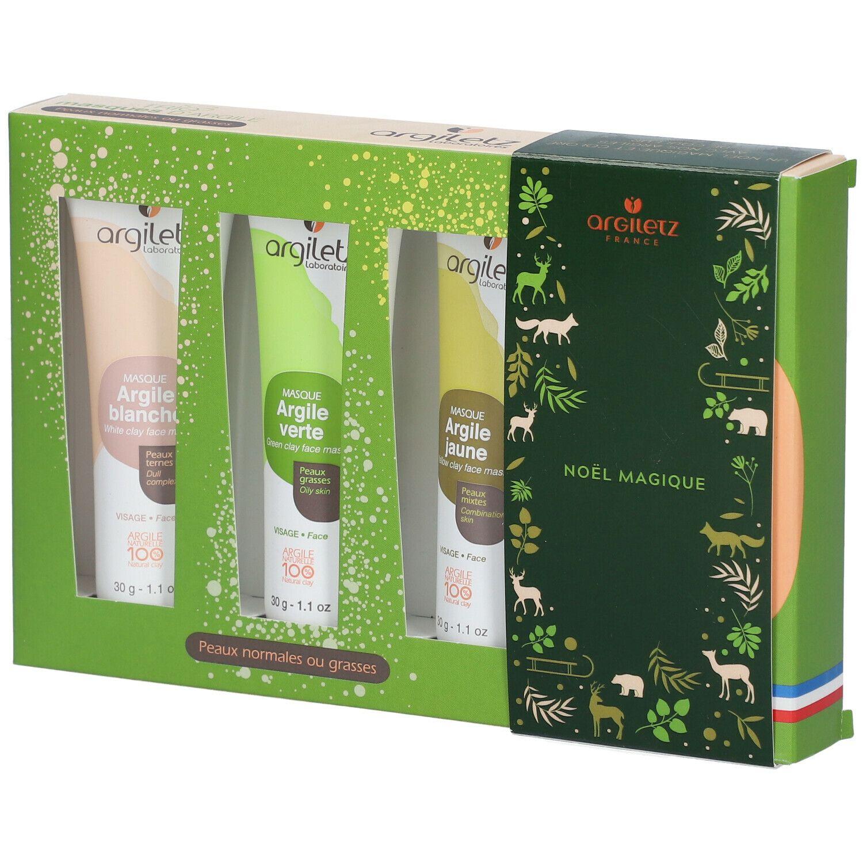 argiletz TRIO masques d'Argile (blanche, verte, jaune) pc(s) set(s)