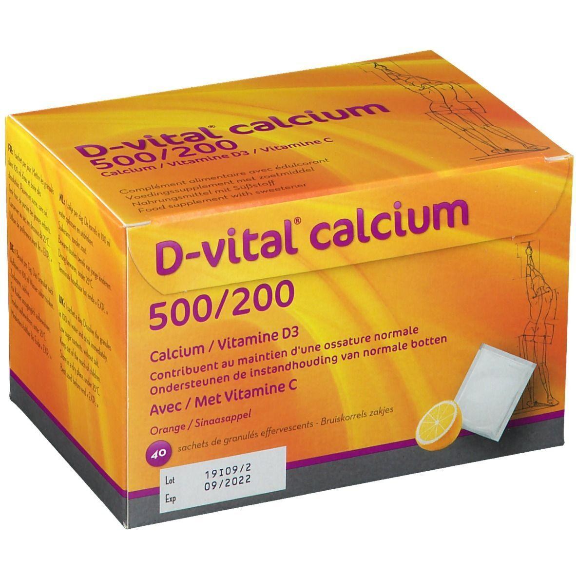 D-vital® calcium 500/200 goût orange pc(s) sachet(s)