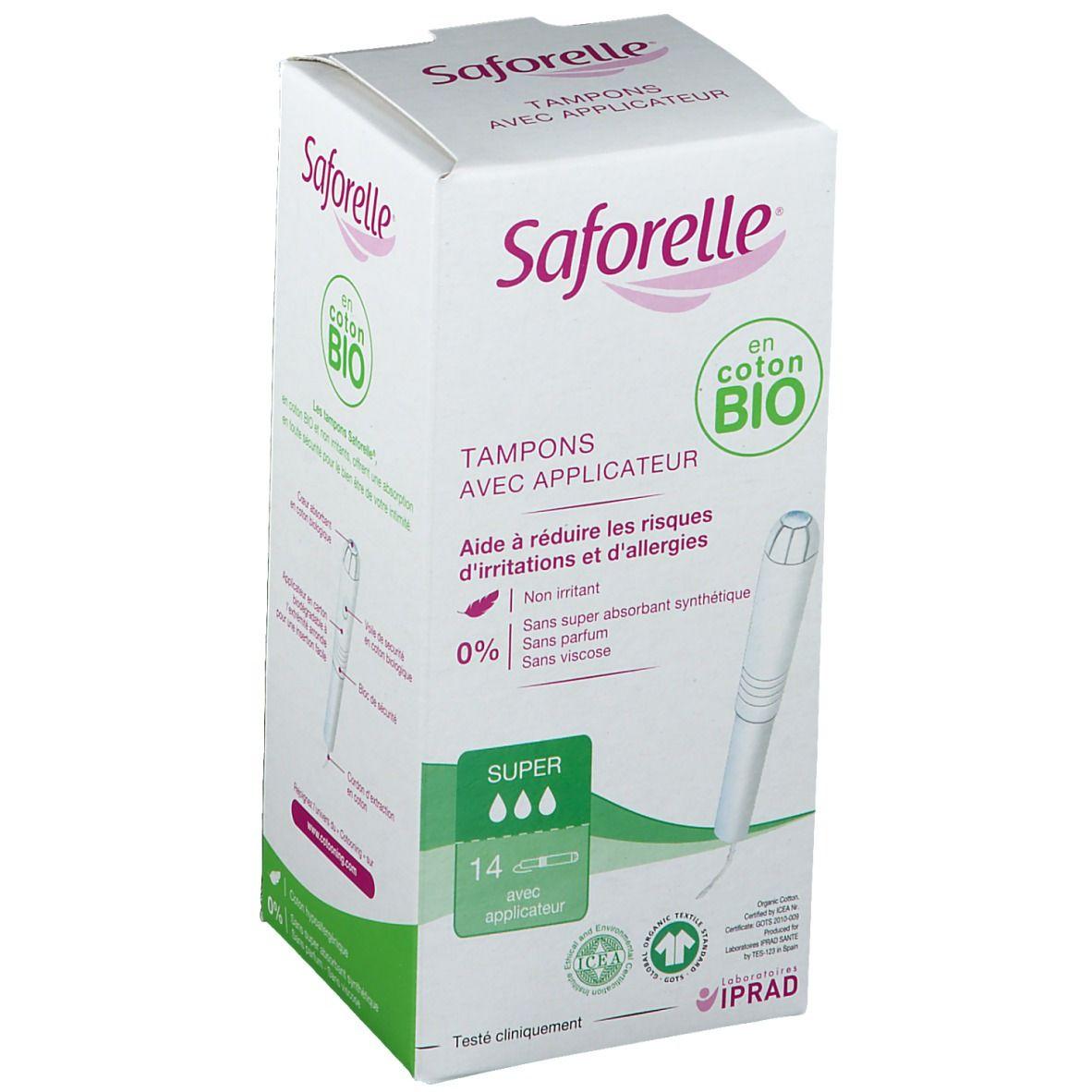 Saforelle® Tampon avec applicateur Coton BIO pc(s) bandage(s)