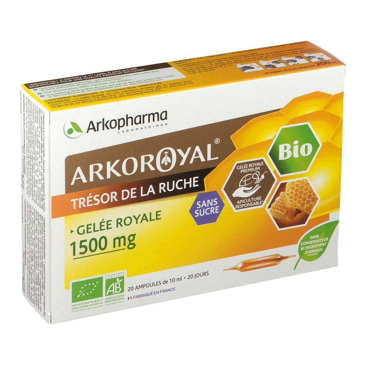 Arkoroyal® Arkopharma ARKOROYAL® Gelée Royale BIO sans sucre ml ampoule(s)
