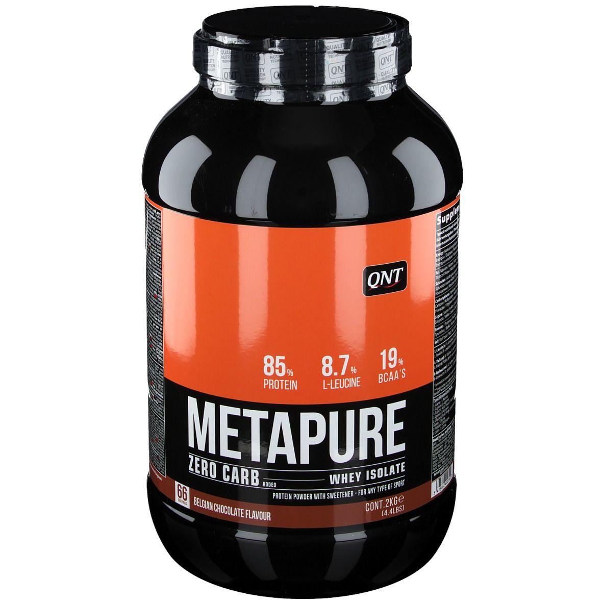QNT Metapure Whey protein isolate Zero Carb Chocolat Belge kg poudre