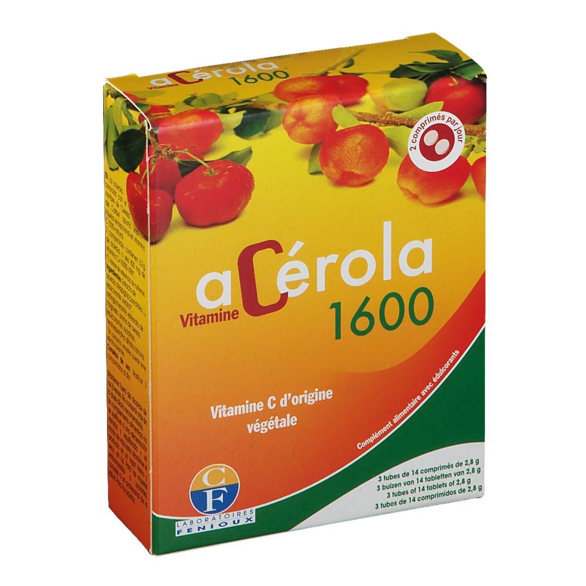 acérola 1600 Vitamine C d'origine végétale pc(s) comprimé(s)