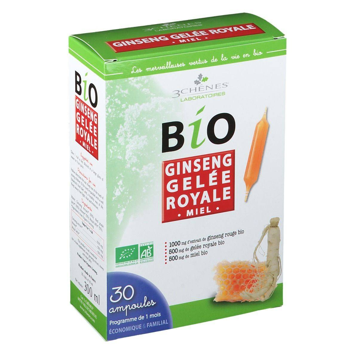 3Chênes® 3 Chênes Bio Ginseng Gelée Royale Miel ml ampoule(s) buvable(s)