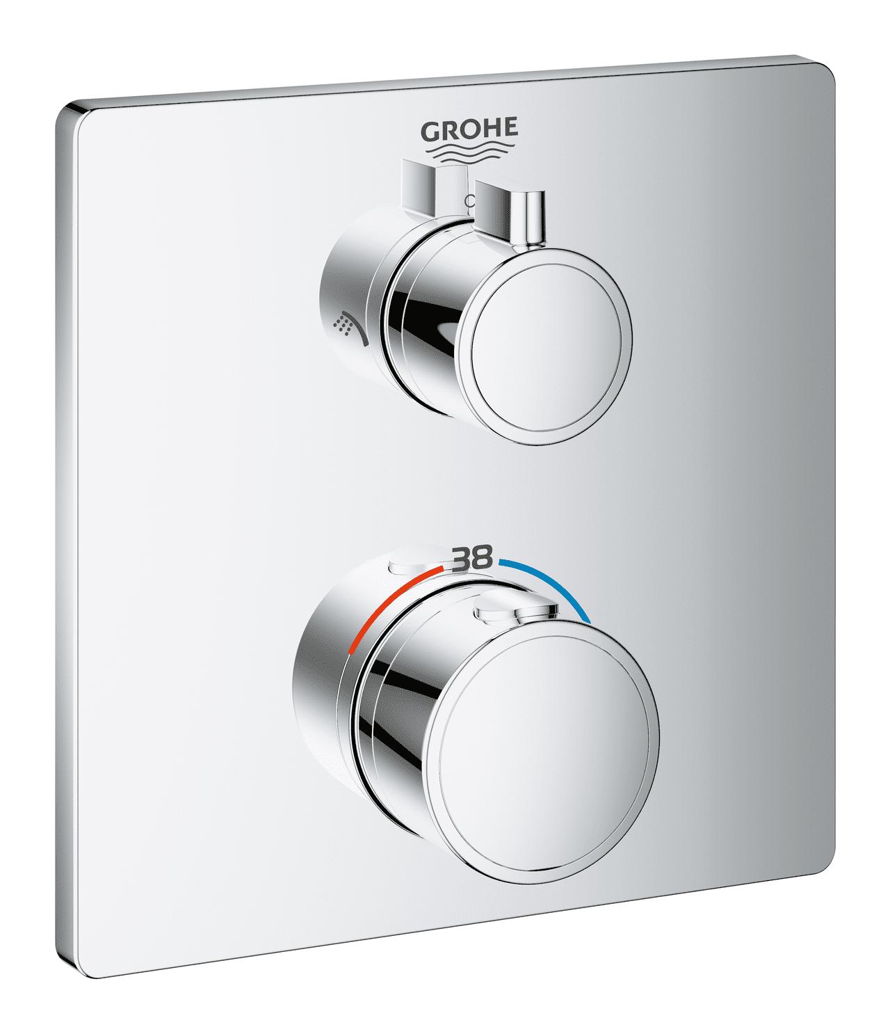 GROHE Grohtherm - Façade pour mitigeur thermostatique douche pour 2 sorties chrome