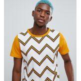 Sacred Hawk - T-shirt avec rayures effet zig-zag - Jaune - Jaune