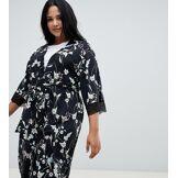 City Chic - Alexandra - Kimono court croisé - Noir