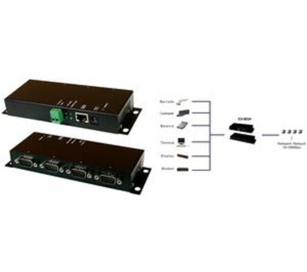 EXSYS Passerelle Ethernet 4 Ports, boîtier métallique avec