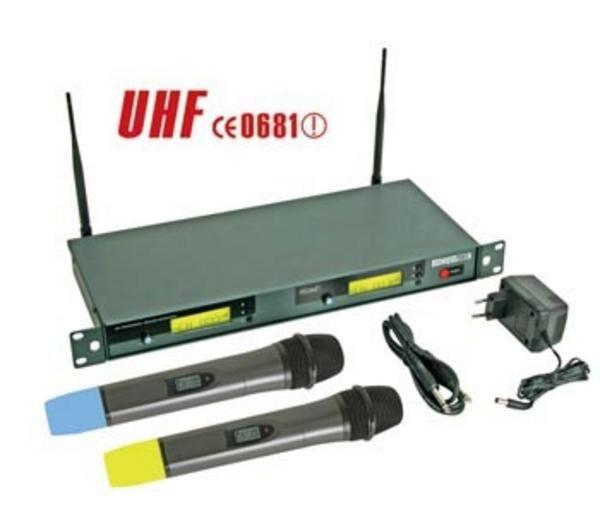 VELLEMAN Double microphone pll uhf true diversity sans fil à 8 canaux avec afficheur lcd