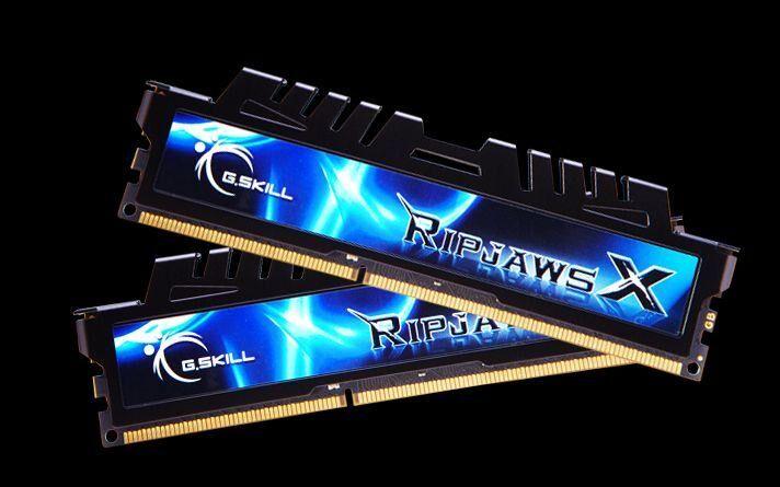 GSKILL Mémoire LONG DIMM DDR3 G.Skill DIMM 16 GB DDR3-2133 Kit F3-2133C9D-16GXH, série RipjawsX, Retail 16 GB CL9 11/11/31 2 barettes