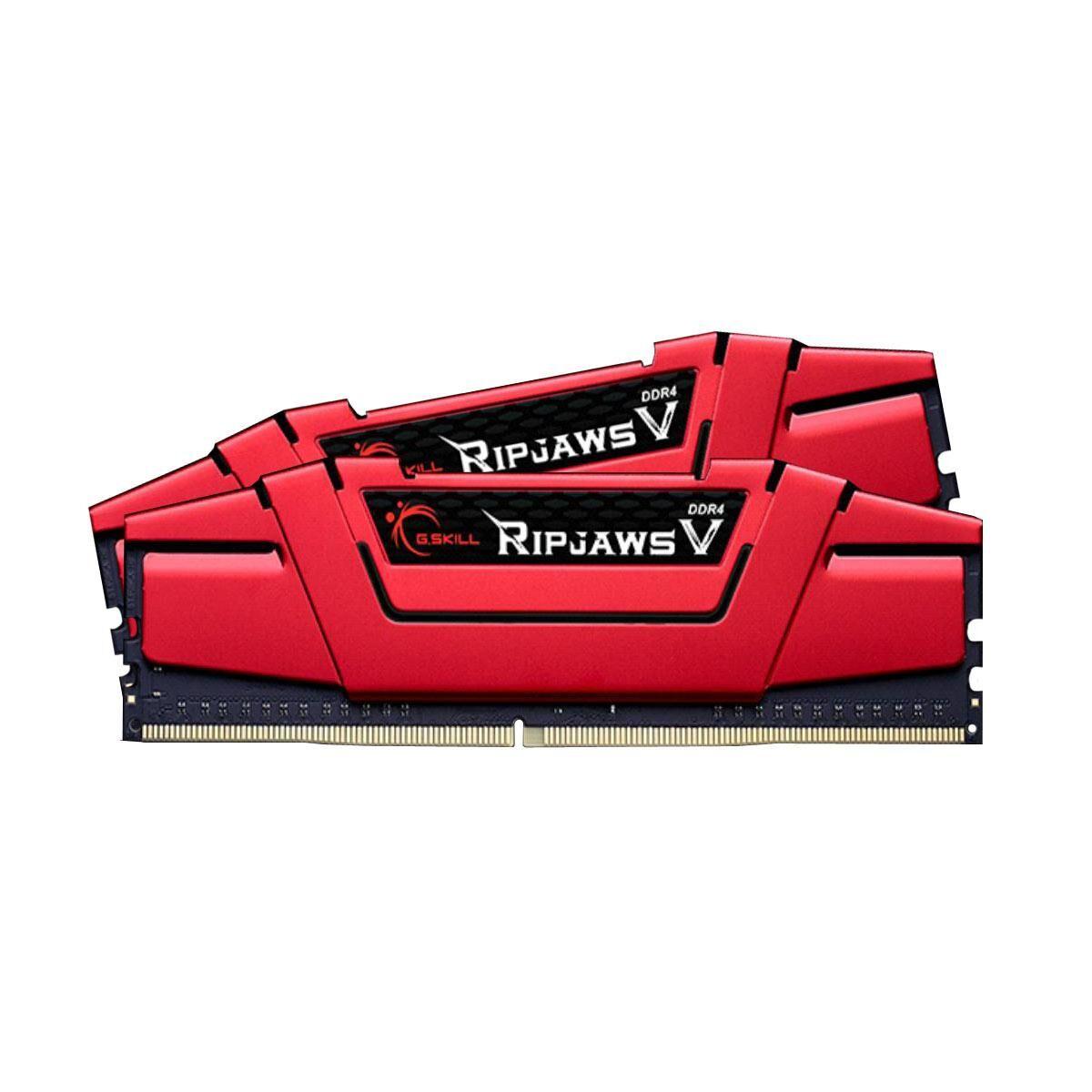 GSKILL Mémoire LONG DIMM DDR4 G.Skill DIMM 8GB DDR4-2666 Kit rouge, F4-2666C15D-8GVR, Ripjaws V 8GB CL15 15-15-35 2 barettes