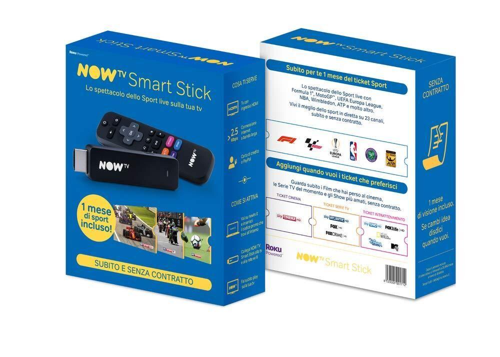 SKY Now TV Smart Clé TV pour Sport, Rencontres, Tournois et Gare en Real Time -Noir