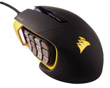 CORSAIR Scimitar PRO USB Optique 16000DPI Gauche Noir, Jaune souris