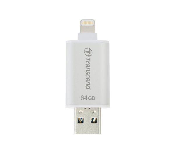 TRANSCEND JetDrive Go 300 - Clé USB - 64 Go - USB 3.0 / Lightning - argenté(e)