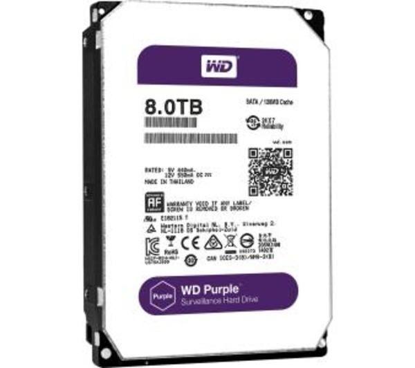 "WD Purple WD80PUZX - Disque dur - 8 To - interne - 3.5"" - SATA 6Gb/s - 5400 tours/min - mémoire tampon : 128 Mo"