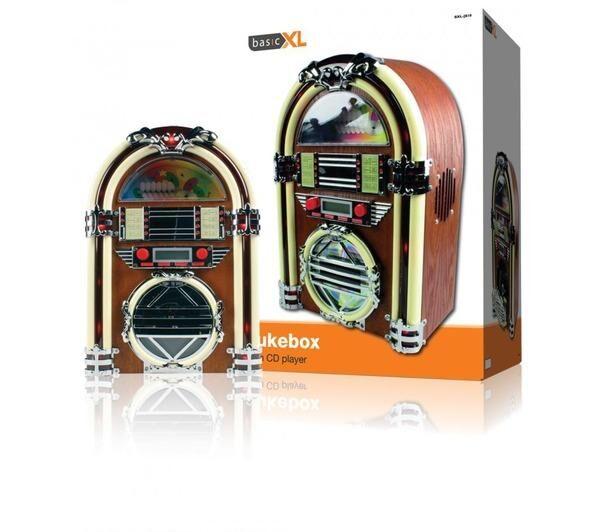 BASICXL Jukebox Bxl-Jb10 - Lecteur Cd Radio Fm Design Juke-Box