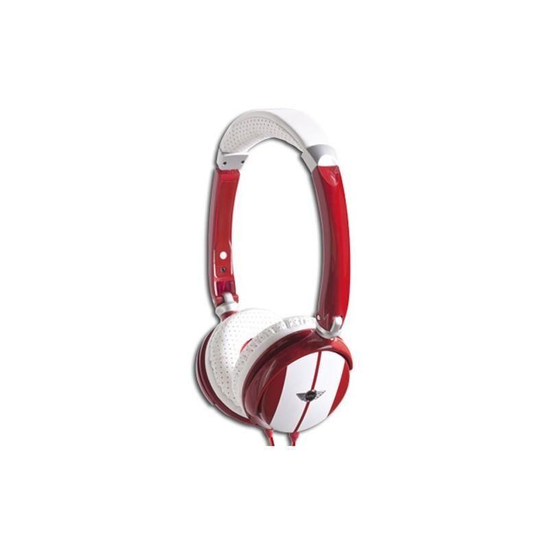 MINI COOPER Casque Audio Stereo Licence Rouge et blanc avec Micro et Télécommande