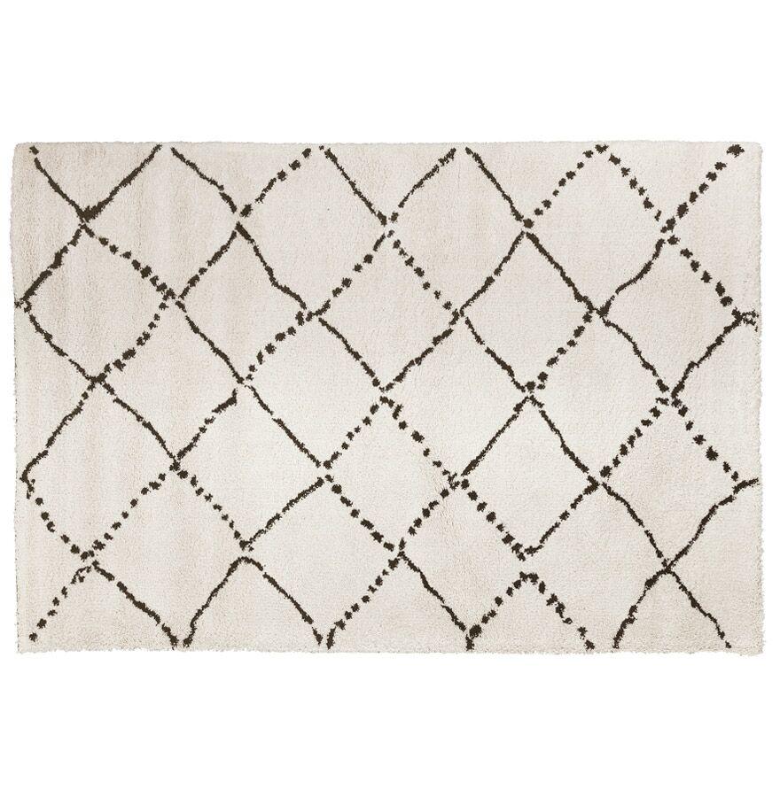 Alterego Tapis berbère 'BERAN' blanc avec motifs noirs - 200x290 cm