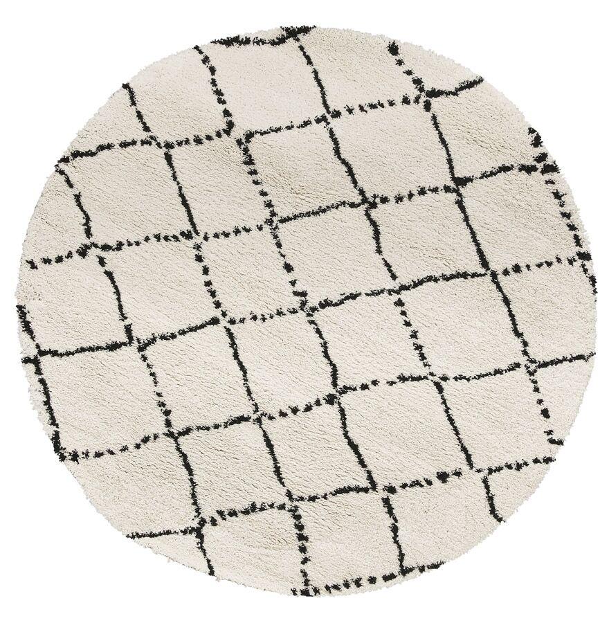 Alterego Tapis berbère rond 'BERAN' blanc avec motifs noirs - Ø 200 c