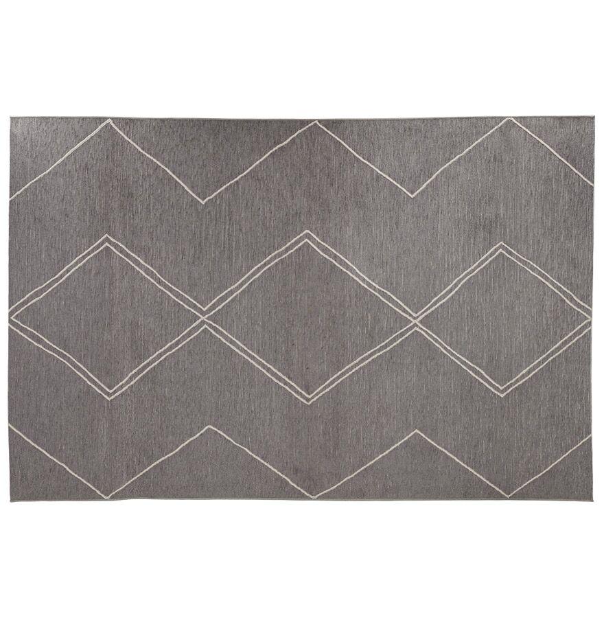 Alterego Tapis design 'CYCLIK' 200x290 cm gris foncé avec motifs zigz