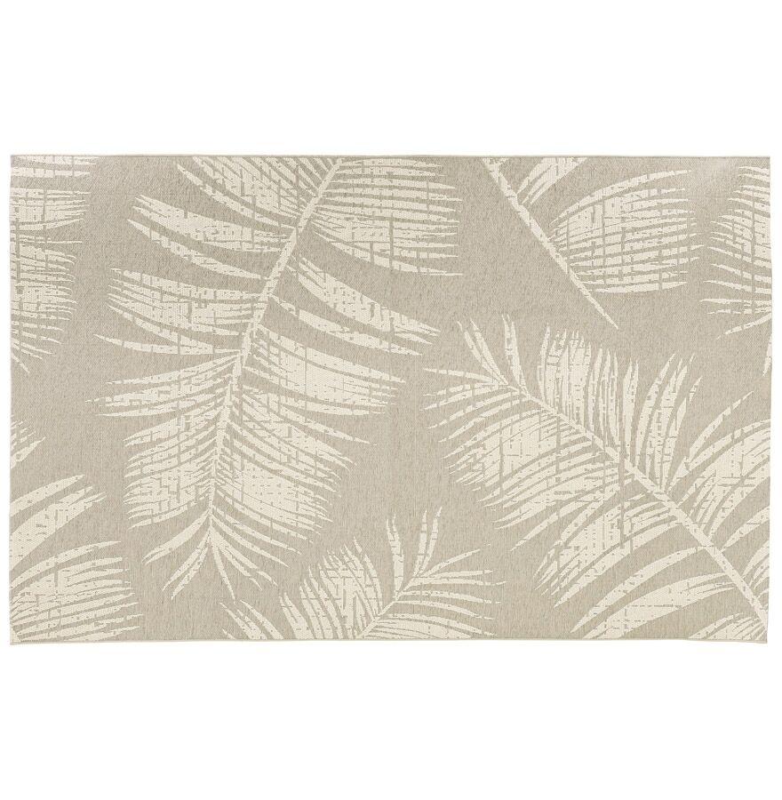 Alterego Tapis design 'SEQUOIA' 200x290 cm beige avec motifs feuilles