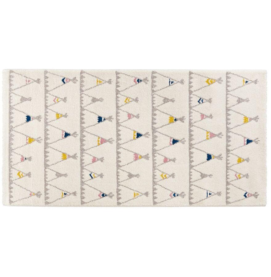 Alterego Tapis enfant blanc 'TOMAK' 80/150 cm motifs tente indien
