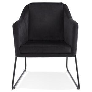 Alterego Fauteuil lounge design 'BRANDO' en velours noir - Publicité