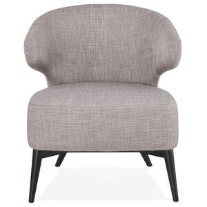 Alterego Fauteuil lounge 'ODILE' en tissu gris et pieds en bois noir - Publicité