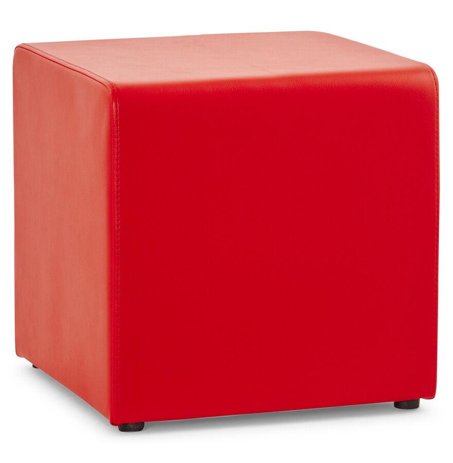 Alterego Pouf 'CUBE' de salon en matière synthétique rouge