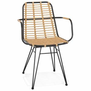 Alterego Chaise avec accoudoirs 'BASTIA' en rotin couleur naturelle e - Publicité