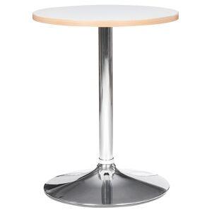 Alterego Table ronde 'CASTO ROUND' blanche avec pied chromé - Table H - Publicité