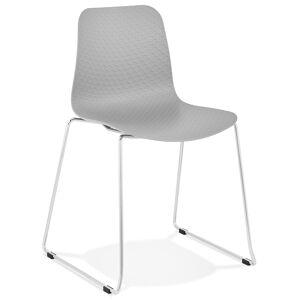 Alterego Chaise moderne 'EXPO' grise avec pieds en métal chromé - Publicité