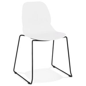 Alterego Chaise design 'NUMERIK' blanche avec pieds en métal noir - Publicité