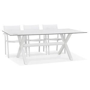 Alterego Table de jardin design 'PORTO' blanche avec pied en X - Publicité