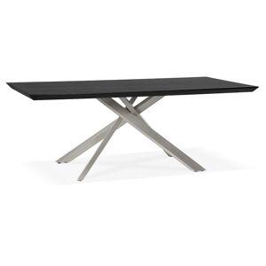 Alterego Table à manger design 'WALABY' en bois noir avec pied centra - Publicité