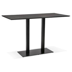 Alterego Table haute design 'ZUMBA BAR' noire avec pied en métal noir - Publicité