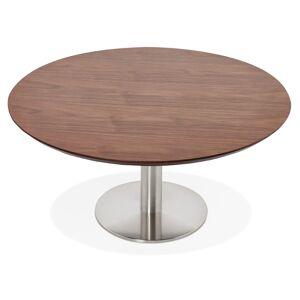 Alterego Table basse lounge AGUA en bois finition Noyer - Ø 90 cm - Publicité