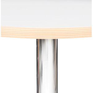 Alterego Table haute ronde 'ELIOT ROUND' blanche avec un pied en méta - Publicité