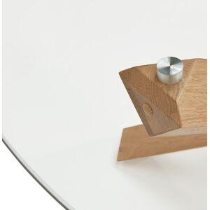 Alterego Table basse de salon 'MAGIK' ronde en verre et bois massif - Publicité