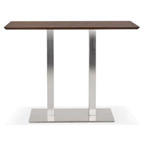 Alterego Table haute design 'MAMBO BAR' en bois finition Noyer avec p - Publicité