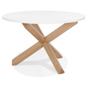 Alterego Table ronde design 'MARVEL' blanche et chêne massif - Ø 120 - Publicité