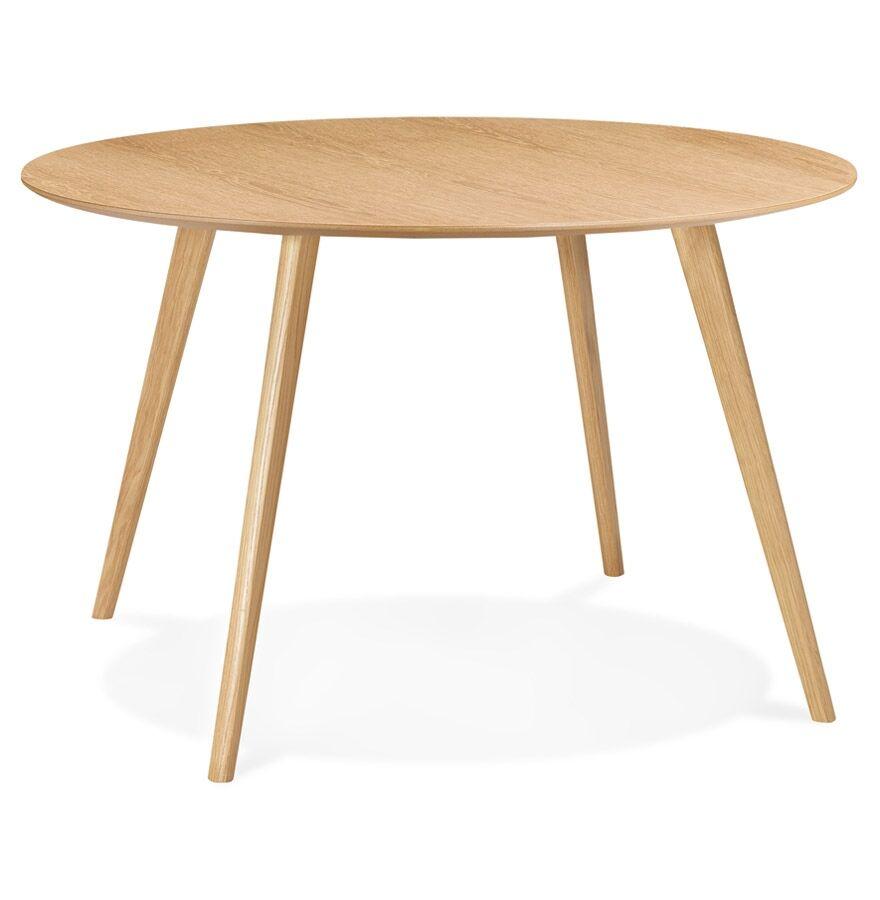 Alterego Table de cuisine ronde 'AMY' en bois finition naturelle - ø