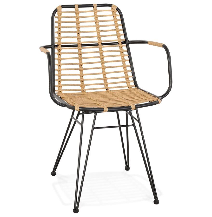 Alterego Chaise avec accoudoirs 'BASTIA' en rotin couleur naturelle e