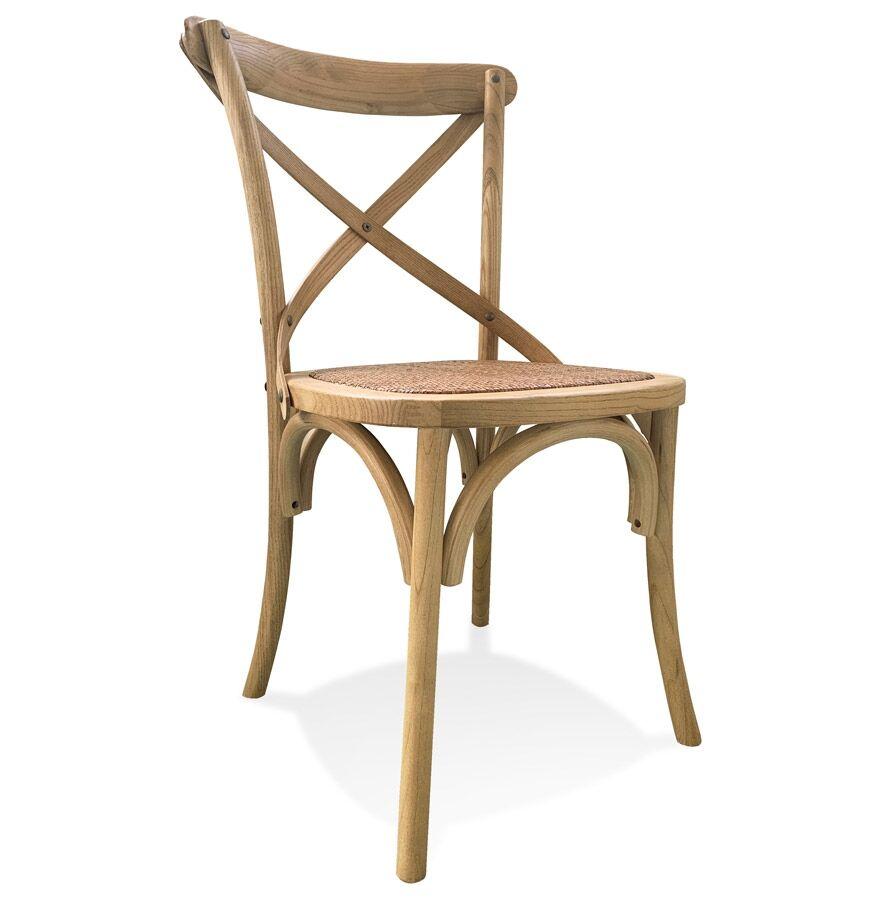 Alterego Chaise de cuisine rétro 'CHABLY' en bois finition naturelle