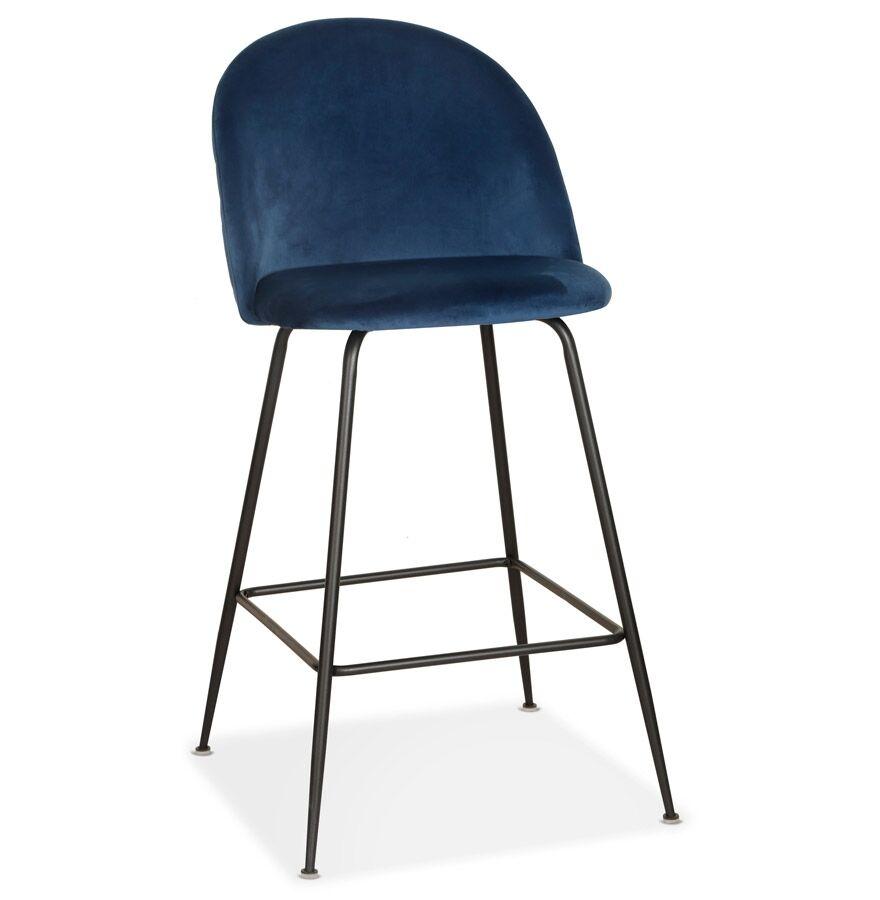 Alterego Tabouret de bar 'DUPONT' en velours bleu et métal noir - com