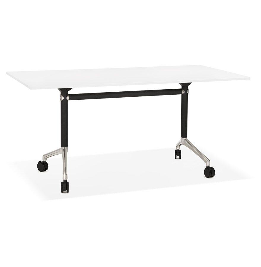 Alterego Grand bureau pliable 'FLEXO' blanc sur roulettes - 160x80 cm