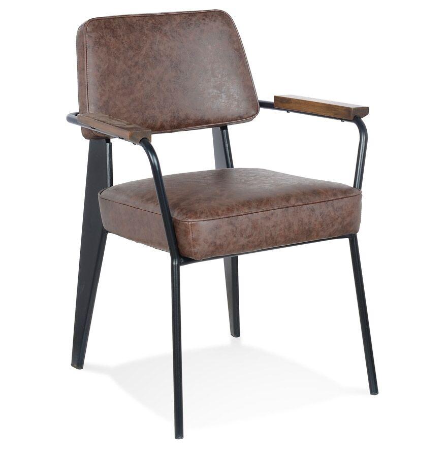Alterego Chaise avec accoudoirs design 'GALLERIA' brune et métal noir