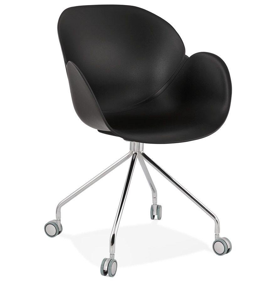 Alterego Chaise de bureau design 'JEFF' noire sur roulettes