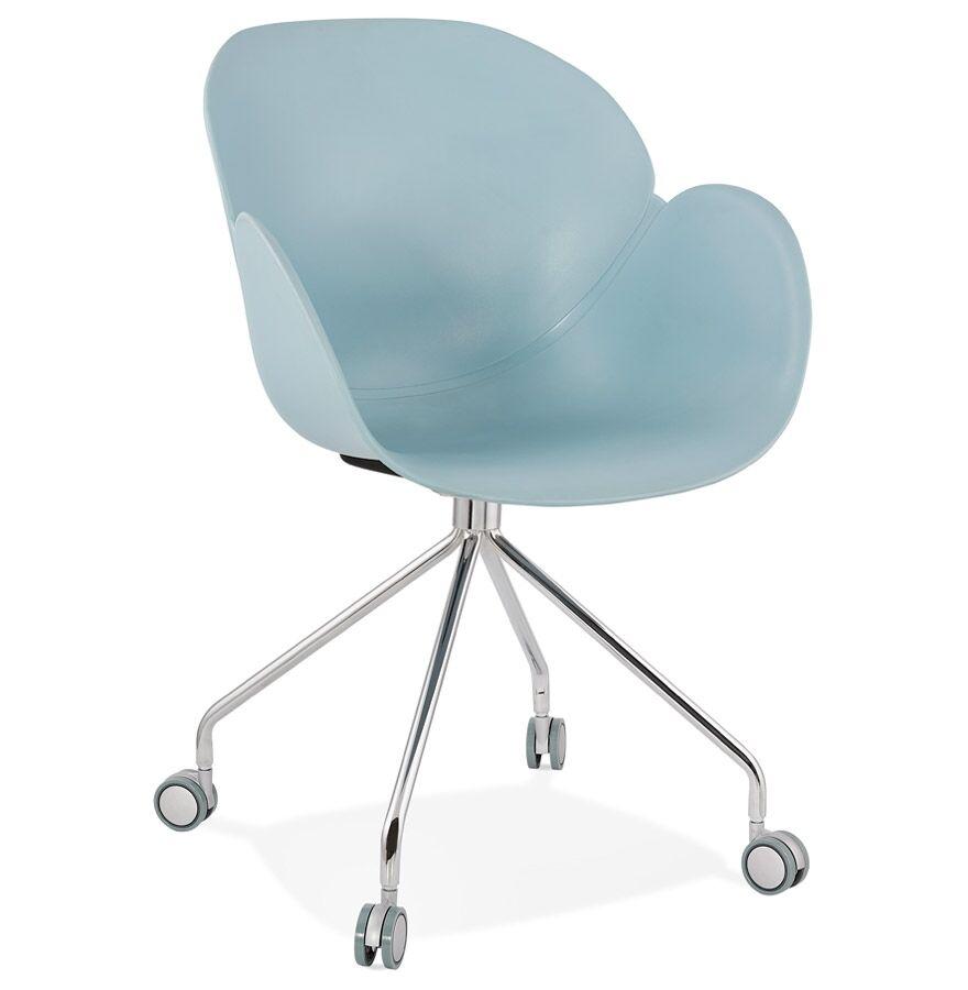 Alterego Chaise de bureau design 'JEFF' bleue sur roulettes