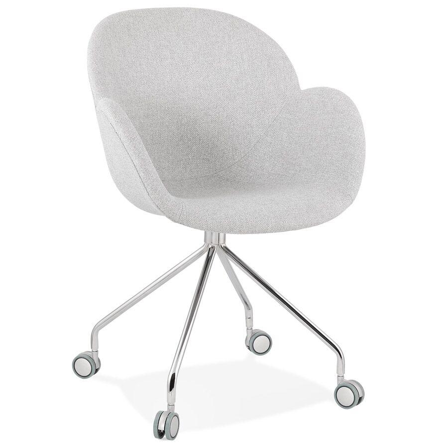 Alterego Chaise de bureau 'KEV' en tissu gris clair confortable sur r