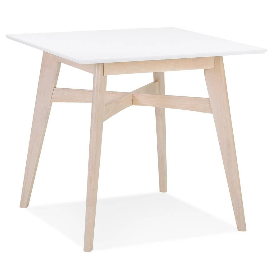 Alterego Table à diner carrée 'MAEVA' en bois blanc et finition natur